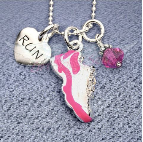 Pink Running Shoe Charm Trio Necklace Favoriterunshop