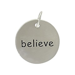Believe Round Charm Sterling Silver