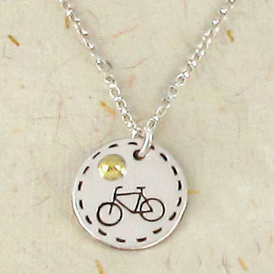 Bicycle charm necklace on 18 sterling silver chain favoriterunshop bicycle pendant charm aloadofball Gallery
