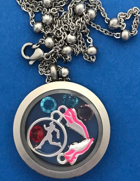 Running girl charm locket